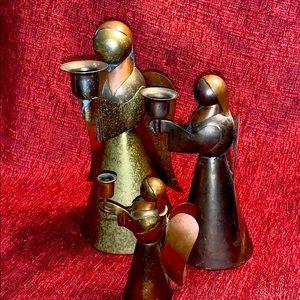 Vintage Copper& brass angel candle taper holder